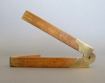 Vintage English wooden folding rule - English J Rabone Boxwood Folding Ruler