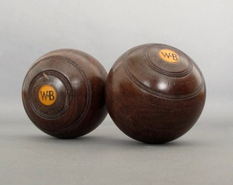 Vintage Lawn Bowls from England - Pair of Lignum Vitae Lawn Bowl - Vintage Bowling Ball
