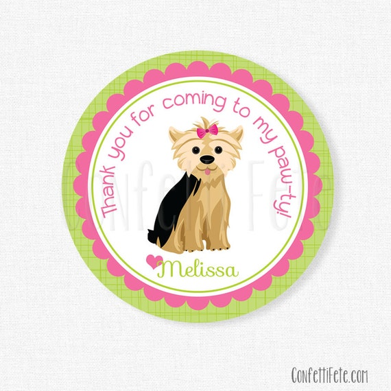 Puppy Party Favor Tags Dog Birthday Favors Yorkie Party