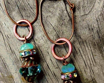 25%off any order Ox Copper And Aqua Glass  Earrings