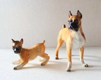 CIJ 40% off sale // Vintage 60s Set of Two Shafford Blue Ribbon Ceramic Boxer Dog Figurines