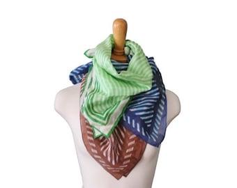 50% half off sale // Vintage 70s Fashion Scarf Trio Set of Three - Blue Green Brown - Stripes - Rayon Blend