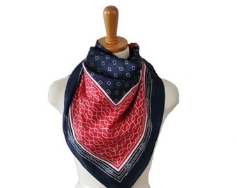 30% off sale // Vintage 70s Large Blue Red White Fashion Scarf - Rope Pattern - Nautical