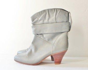 30% off sale // Vintage 80s Dingo Stacked Heel Ankle Boots - Women 6.5 7M Dingo - Gray Leather, Cowgirl, Western