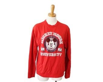 30% off sale // Vintage 80s MICKEY MOUSE University Red Sweatshirt - Women M - worn, faded, Walt Disney