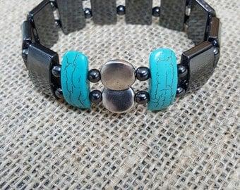 Graceful hematite, turquoise  and metal bracelet