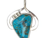 Kingman Turquoise and Sterling Silver Pendant  pturh2649