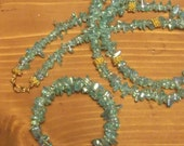 Light Blue Green glass chips necklace and memory wire wrap bracelet ... necklace w/ matching bracelet