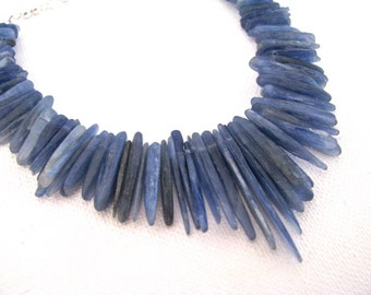 Blue Kyanite and Silver Chain Long Pointed Spikey Choker Necklace