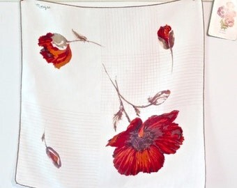 Vintage Linen Poppy Handkerchief by Monique