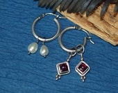 Three Looks in One/Hoop Earrings with Garnets and Pearls