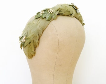 Vintage pastel olive green millinery headband with feathers and velvet leaves/Vintage headpiece/Vintage wedding/Bridal headpiece