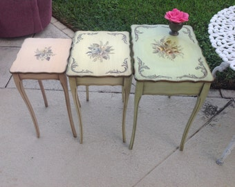 Handpainted Shabby Chic Nesting Tables Cottage Style at Retro Daisy Girl