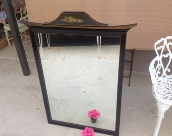 "VINTAGE PAGODA MIRROR 48"" Tall / Chinoiserie Mirror Hollywood Regency / Tall Pagoda Mirror / 4 Ft Tall Palm Beach Chic at Retro Daisy Girl"