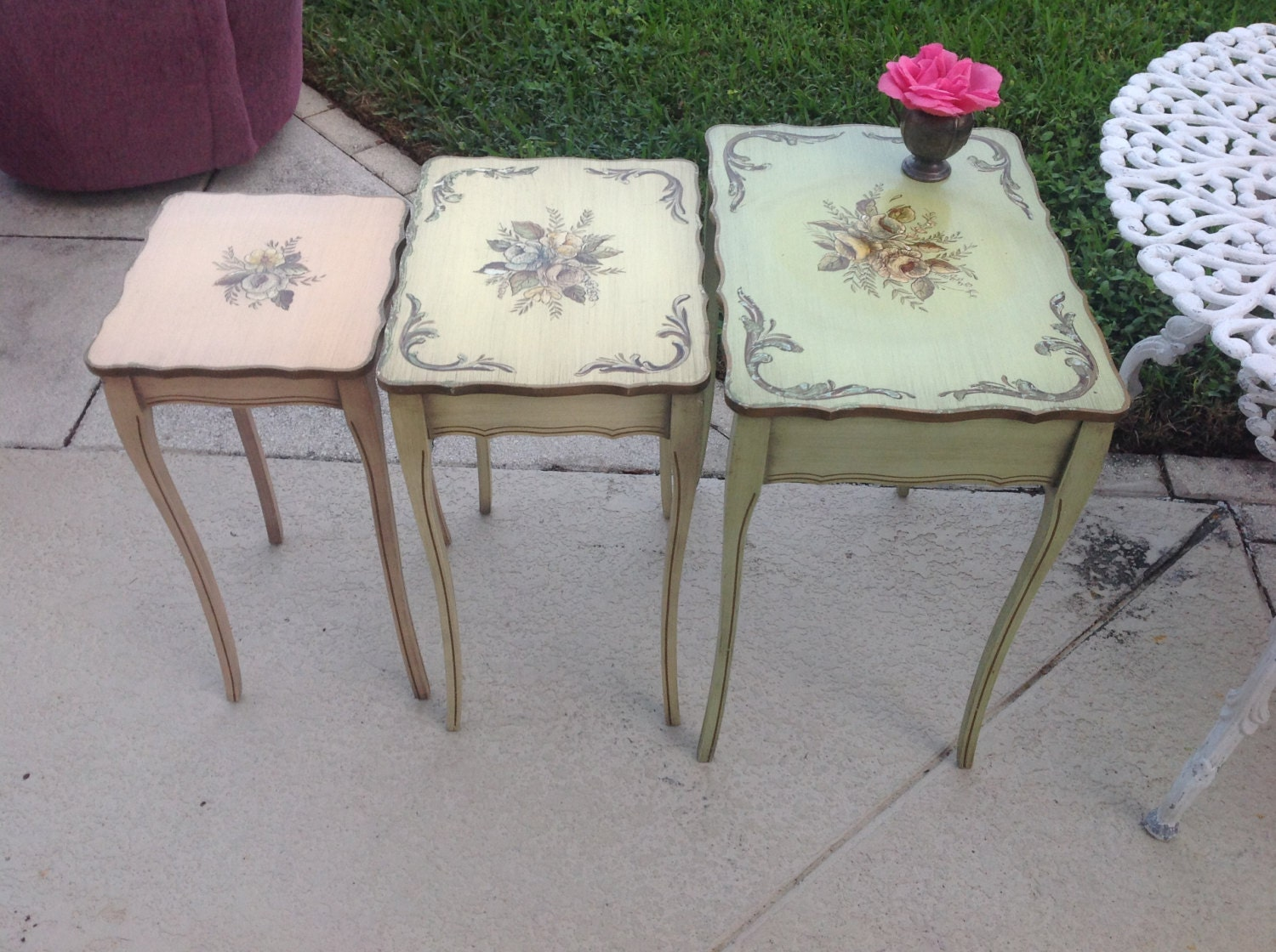 Handpainted shabby chic nesting tables cottage by