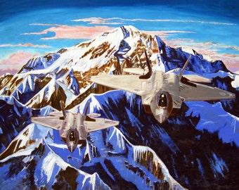Denali Art Print, F-22 Raptors Print, Alaska Mountain Landscape, Gift for Air Force Pilot, War Bird Print, Scott Clendaniel, Elmendorf AFB