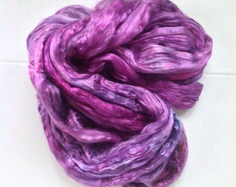 Roving MULBERRY SILK - PURPLE  -  hand dyed