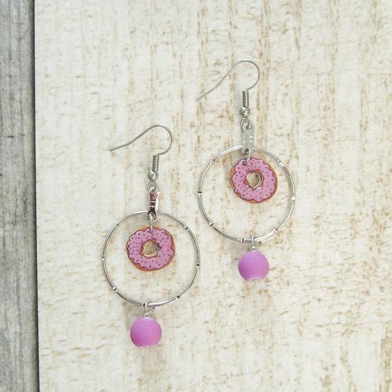 Shrink plastic earrings, handmade, donut, pink, metal ring, stainless hook, Les Perles Rares