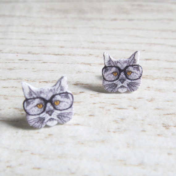 Small, gray, cat, hipster, earrings, shrink plastic, black, white, stainless stud, handmade, les perles rares