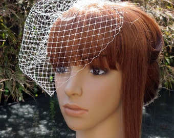 Ivory Birdcage Veil Wedding Bridal Blusher 9 inches Russian Net with 4 Inches Loose