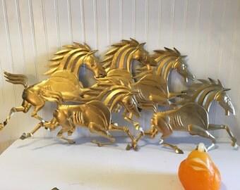 WILD HORSES METAL Art Made In Hong Kong Mid Century Modern, Modernism, Horse, Horses, at Modern Logic