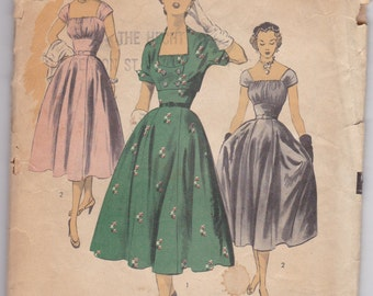 1950s Vintage Sewing Pattern, Dress and bolero jacket, Advance 6061, size 14 SALE