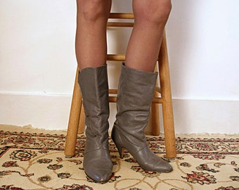 Vintage 1980s High Heel Boots Gray Midcalf Soft Slouchy Pull On Boots / U.S. 8 to 8.5M