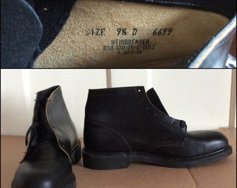 Deadstock 1970's Black Short steel toe Military Chukka Boots Shoes size 9.5 D NOS Vietnam War era