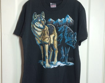 Vintage 1990s Wolf T-shirt size XL Timber Wolf large print 1991