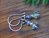 Green Amethyst and Mystic Labradorite Earrings with Gold Filled and Sterling Silver