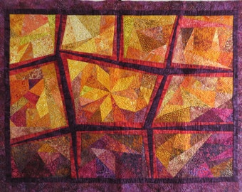 Bright Bold Quilted Batik wall hanging gold reds purple orange abstract art quilt