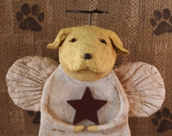 Yellow Lab Angel, OOAK, hand-sculpted from papier mache, LAB ANGEL