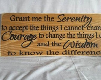 Serenity Prayer, rustic wooden sign, farmhouse decor, country decor, distressed sign