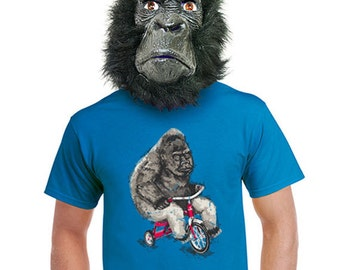 gorilla print t-shirt funny animal design shirts ape tshirt lowbrow gift ideas riding tricycle unique shirts best seller extra large xlarge