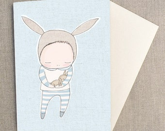 "Greeting Card - Baby Boy Bunny Cuddles - Blue -  C6 greeting card 11w x 15.5 h cm (4.4x6.1"")."
