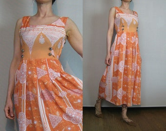 80s MEDIEVAL ARCHITECTURAL RELIEF Sculpture Vintage Pleated Orange White Gothic Brass Buttons Midi Dress with Belt xs Small 1980s