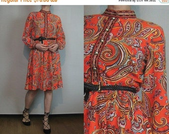 SUMMER SALE 60s NEON Tangerine Folk vtg Neon Orange Paisley Pleated Wine Gold Brass Buttons Long Sleeve Mini Midi Dress Small 1950s 1960s