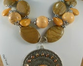 Gypsy Cowgirl Necklace Set - Chunky Jasper - Orange Howlite - Australian Agate - Tribal Style Pendant