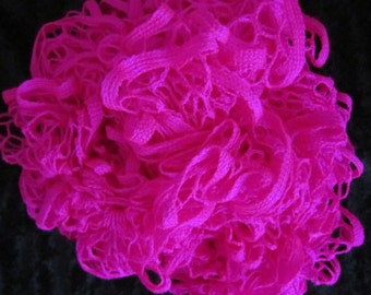 NEON PINK Crochet Ruffled Scarf,  72 inches long