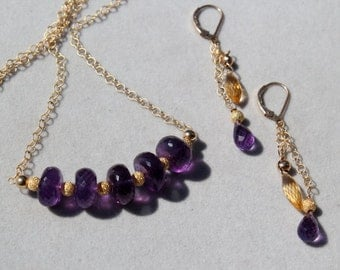 African Amethyst roundel necklace and/or earrings set by EvyDaywear, matching necklace and dangle earrings with citrine and amethyst