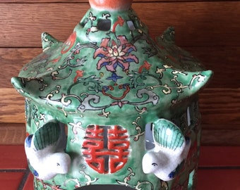 Vintage Asian Ceramic Decorative Bird House with Bird Made in China 1960s Bird Cage Excellent Condition