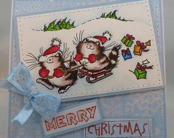 Handmade Card, Greetings, Gift, Christmas, Winter, Penny Black - Christmas Kittens