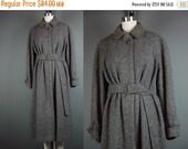 40% OFF 80s Tweed Coat Vintage 1980s Lands End Gray Detachable Belt Belted Charter Collection Andover Tweeds M L