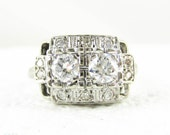 RESERVED. Vintage Toi et Moi Diamond Engagement Ring. Unique Panel Style Ring in Square Shaped White Gold Setting, 0.68 ctw Circa 1940s.