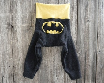 LARGE Upcycled Wool Longies Soaker Cover Diaper Cover With Added Doubler Black / Yellow With Batman Applique  LARGE 12-24M Kidsgogreen