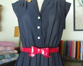 Pretty in Polka Dots vintage 80's does 40's pinup Rockabilly Nautical Dress