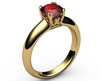 Ruby Ring Engagement Ring Solitaire Ring 18K Yellow gold July Birthstone