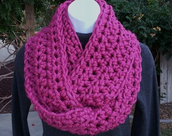 INFINITY SCARF Loop Cowl Dark Pink Bright Magenta 100% Soft Bulky Acrylic Thick Crochet Knit Winter Eternity Circle..Ready to Ship in 2 Days