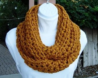 Ready to Ship Crochet INFINITY SCARF Cowl Loop, Butterscotch Solid Dark Yellow Orange Gold, Soft Wool, Handmade Knit Circle Wrap, Women's