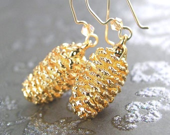 Gold Pine Cone Earrings 14k Gold Fill Hooks Real Pinecone Drop Earrings Gold Dipped Earrings Autumn Fashion Botanical Jewelry
